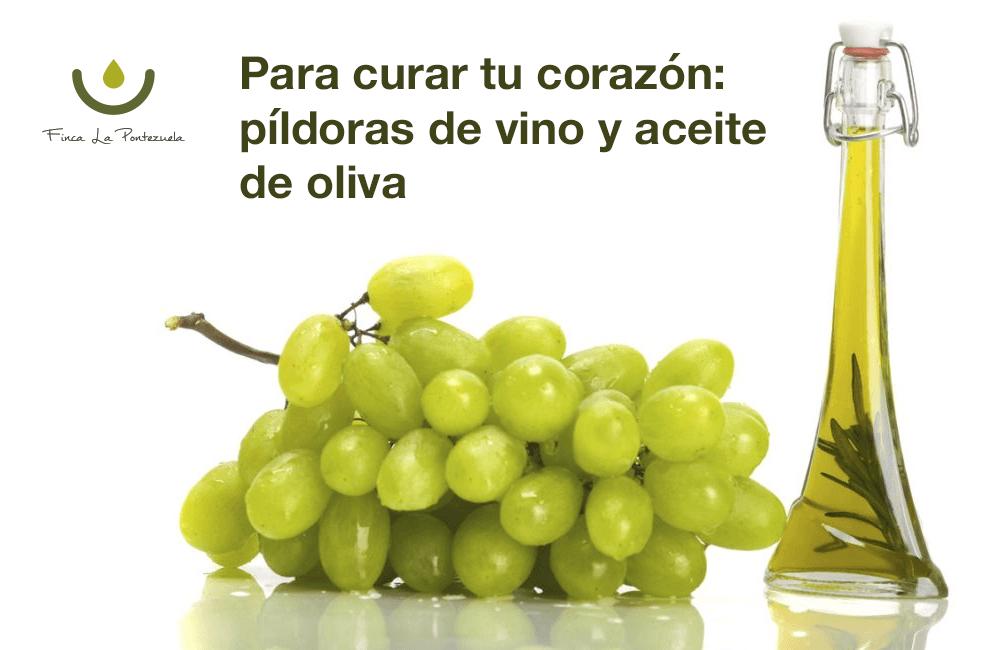 cápsulas de aceite de oliva y vino